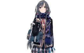 looking at viewer, bangs, dark hair, skirt, black hair, Yahari Ore no Seishun Love Comedy wa Machigatteir