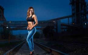 high heels, jeans, flat belly, girl, model, sports bra