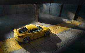 yellow, Porsche, car, Porsche Cayman GT4, Porsche Cayman