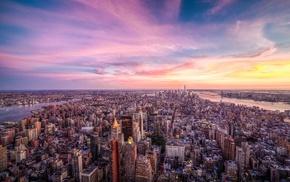 cityscape, river, city, USA, skyscraper, clouds