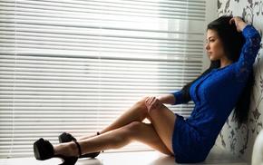 brunette, model, Marina Shimkovich, hands in hair, dress, girl