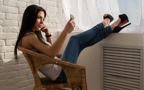 brunette, high heels, cellphone, chair, Marina Shimkovich, girl