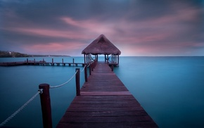 Caribbean, Vacations, dock, landscape, clouds, walkway