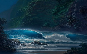 moonlight, beach, cliff, coast, sea, night