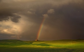 nature, field, house, clouds, green, rainbows