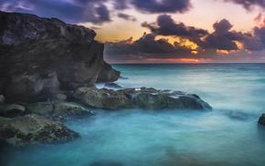 mist, Mexico, sunset, rock, nature, landscape