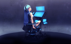 original characters, anime girls, anime, blue hair, headphones