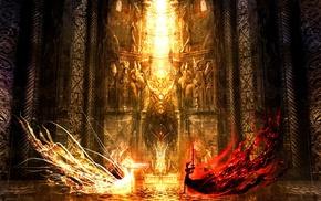 sword, fantasy art, fire, Yin and Yang, fighting