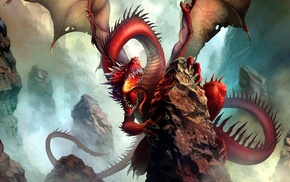 fantasy art, artwork, red, dragon