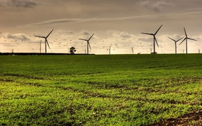 nature, wind turbine, grass, landscape, turbines