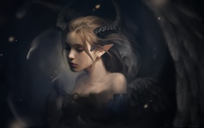 demon, demon girls, fantasy art, horns, drawing, wings