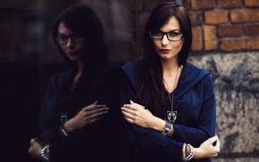 brunette, girl with glasses, long hair, portrait, reflection, glasses