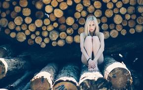 girl, model, sitting, blonde, legs together