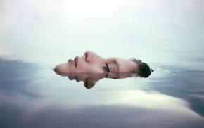 girl, model, wet, simple, reflection, swimming