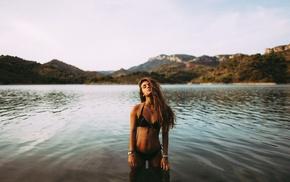 girl, flat belly, bikini, model, river