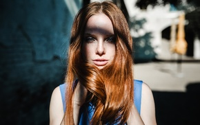 redhead, portrait, face, model, freckles, girl