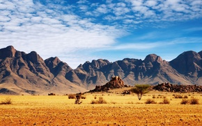 landscape, desert, Africa, rock, stones, clouds