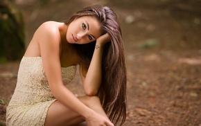 model, tattoo, bare shoulders, girl outdoors, long hair, brown eyes