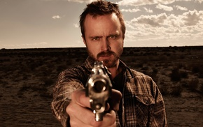 weapon, Breaking Bad, TV, Aaron Paul, gun, men