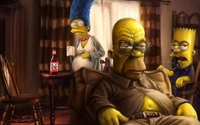 Homer Simpson, The Simpsons, Marge Simpson, artwork, Breaking Bad, Bart Simpson