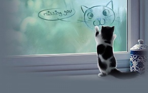 jars, window, digital art, animals, baby animals, kittens