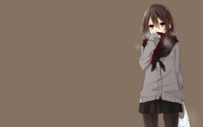 scarf, simple background, Yamasuta, anime, school uniform, original characters
