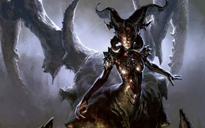 fantasy art, drawing, Magic The Gathering, horns, digital art