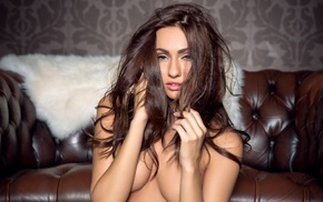 brunette, couch, Michaela Isizzu, panties, boobs, topless