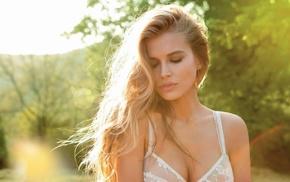 blonde, Tanya Mityushina, depth of field, long hair, girl, smoky eyes