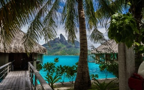 island, tropical, landscape, mountain, Bora Bora, sea