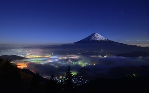 cityscape, mountain, mist, lights, Mount Fuji, trees