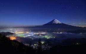 cityscape, mountain, mist, lights, Mount Fuji, trees