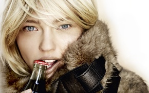 girl, blonde, blue eyes, face, Sasha Pivovarova, biting