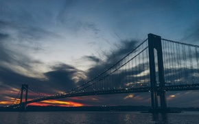 sunset, bridge, water