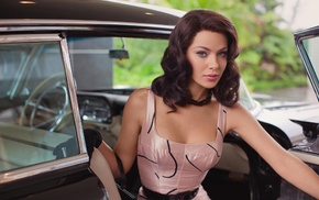 Jessica Marais, gloves, classic car, girl with cars, car, model