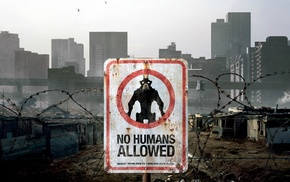 typography, warning signs, District 9, barbed wire, building, danger