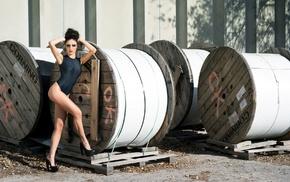 swimwear, reels, one, piece swimsuit, hands in hair, wood