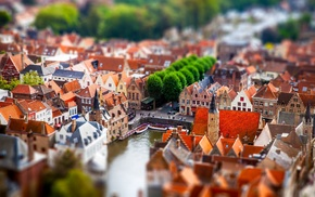 building, cityscape, old building, Bruges, city, tilt shift