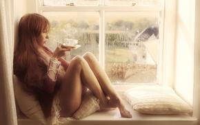 window, cup, girl, legs, redhead, long hair