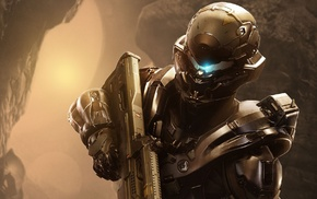 Spartan Locke, armor, Spartans, Halo 5, weapon, video games