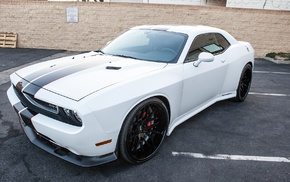 Dodge, car, white cars, Dodge Challenger SRT8, Dodge Charger Hellcat, vehicle