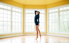 girl, barefoot, room
