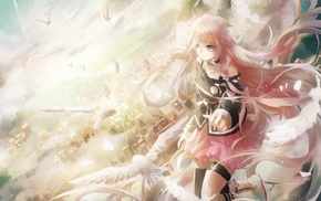 IA Vocaloid, sky, birds, anime girls, city, floating