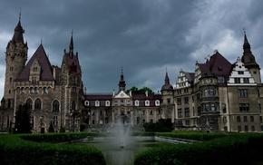 castle, grass, nature, park, architecture, loneliness