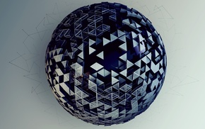 3D, ball, triangle, CGI, sphere, geometry