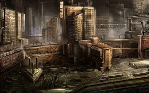 city, architecture, train station, digital art, creativity, futuristic
