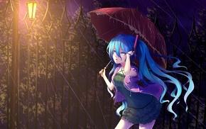 Vocaloid, rain, umbrella, twintails, Hatsune Miku