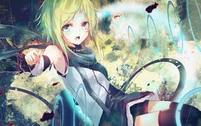 Vocaloid, open mouth, Megpoid Gumi, manga, green eyes
