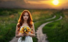 redhead, sunset, girl, girl outdoors, flowers, model