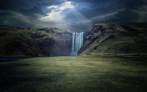 sun rays, field, nature, landscape, waterfall, hill